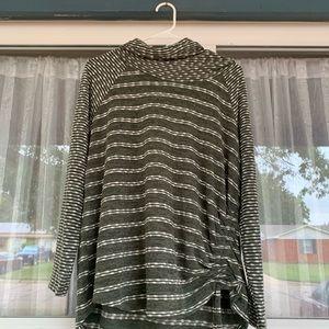 Cowl neck cinch side waist tie sweater -Dress barn